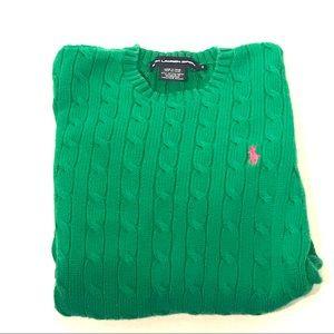 Ralph Lauren Sport Kelly Green Cable Knit Sweater